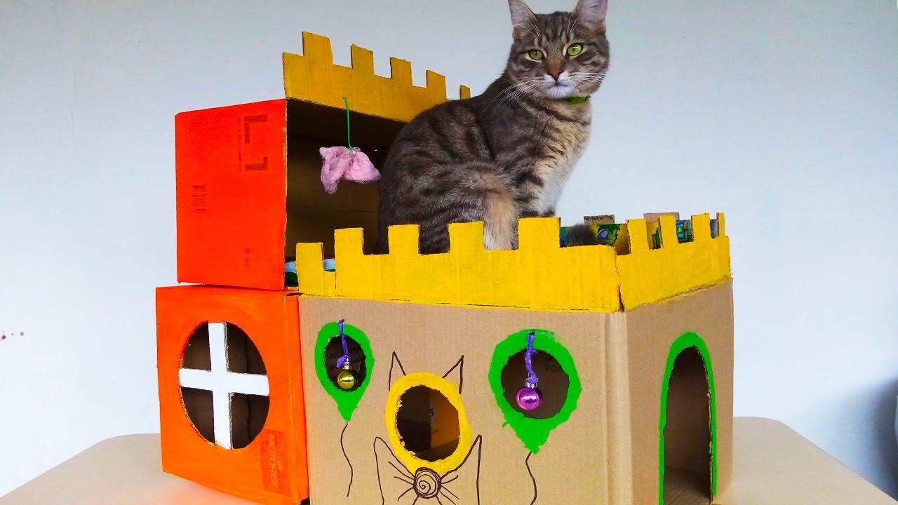 Домик для кота из картона своими руками | Видео для детей