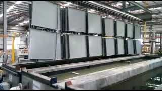 Dip Pre treatment plant-aluminium panels being dipped in various stages before powder coating