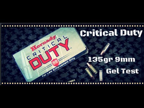 hornady critical duty 135gr 9mm ballistic gel test hd youtube. Black Bedroom Furniture Sets. Home Design Ideas