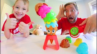 Father & Son PLAY OOPS SCOOPS! / Ice Cream Stacking Time!