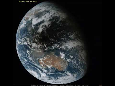 Annular Solar Eclipse - Moon's Shadow Seen From Space