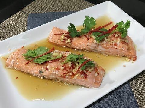 Thai Chili and Lime Steamed Salmon (ปลาแซลมอนนึ่งมะนาว)