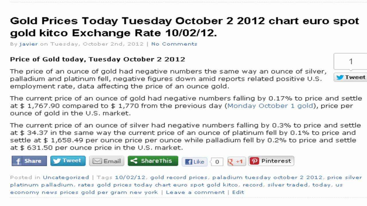 Gold Exchange Rates Prices Ounce Gram Today Tuesday October 2 2017