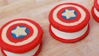 CAPTAIN AMERICA ICE CREAM SANDWICHES - NERDY NUMMIES Thumbnail