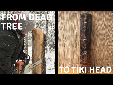 From Tree to Tiki Head | Chainsaw Carving + NYC delivery