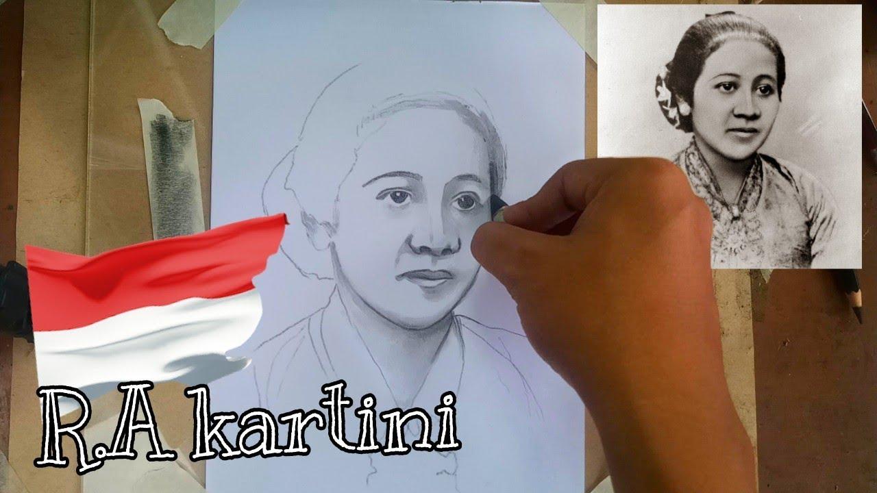 Menggambar wajah R.A KARTINI tanpa penghapus - YouTube