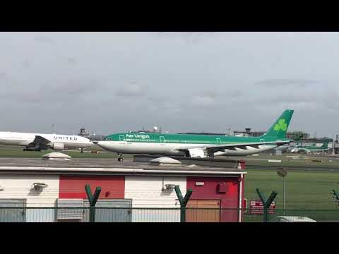 Departure in windy conditions. Storm Ali 2018 Aerlingus Dublin Airport ireland
