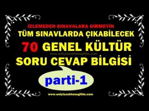 Tüm Sınavlarda Çıkabilecek 70 Genel Kültür Soru Cevap Bilgisi