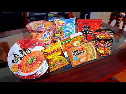 Eating Every RAMEN Mukbang 🍜🔥 Reviewing Instant Ramen From Around The World