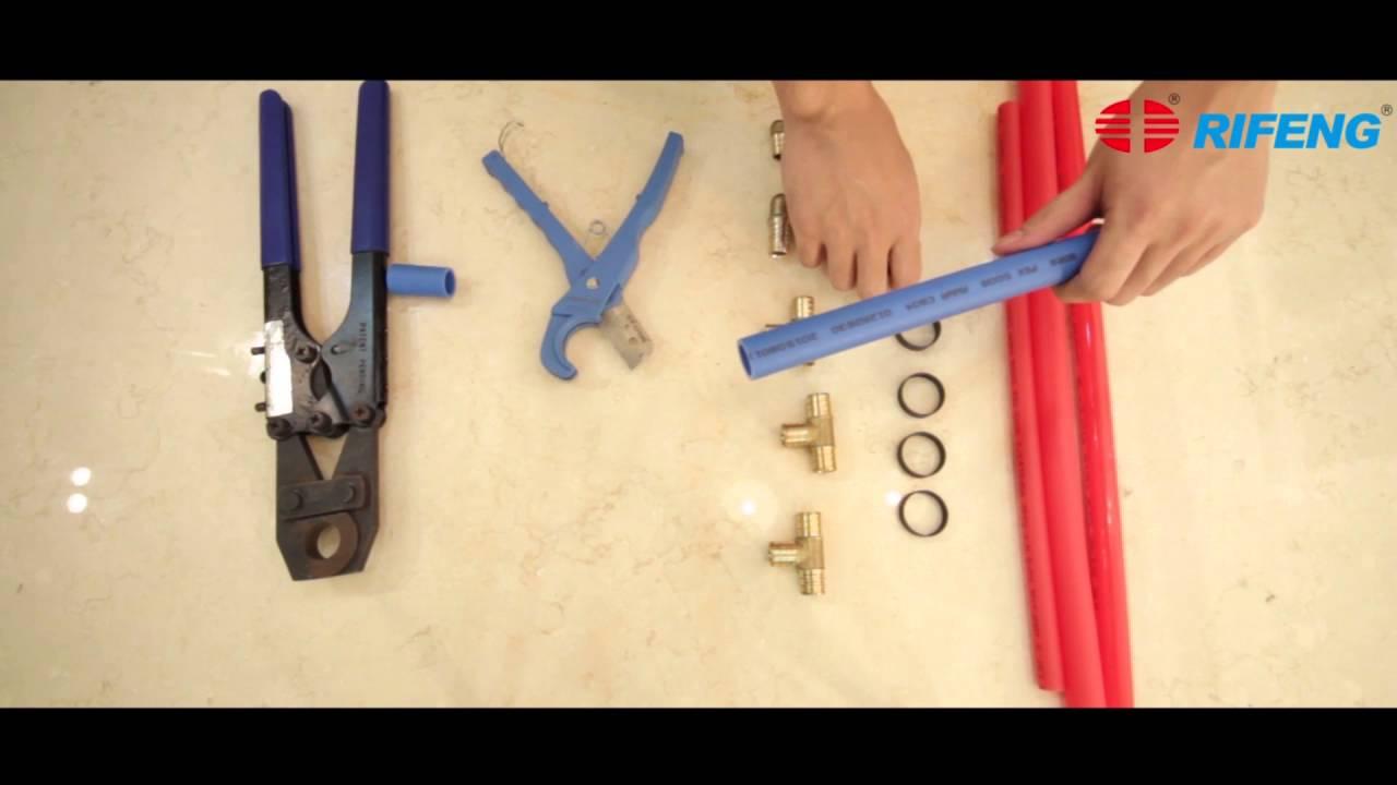 rifeng pex pipe crimp fitting youtube. Black Bedroom Furniture Sets. Home Design Ideas