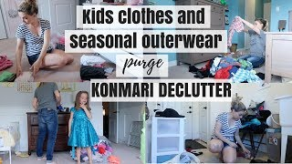 KONMARI METHOD DECLUTTER | SEASONAL OUTERWEAR & KIDS CLOTHES | Nesting Story