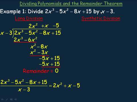 Dividing Polynomials and The Remainder Theorem Part 1