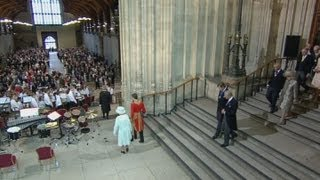 Royal trumpet fanfare as the Queen and her family arrive at Westminster Hall for lunch