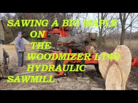 Sawing a big Maple on the Woodmizer LT40 hydraulic sawmill