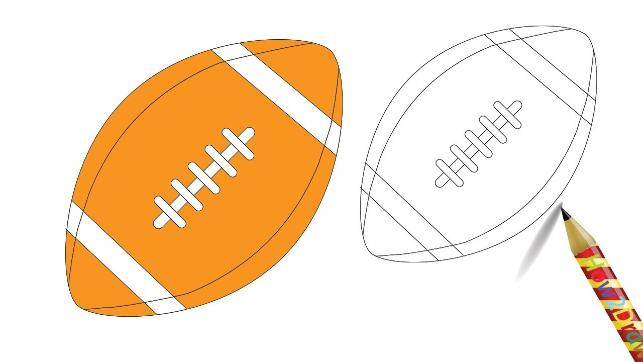 How To Draw A Rugby Ball Drawing Easy Coloring Page Youtube