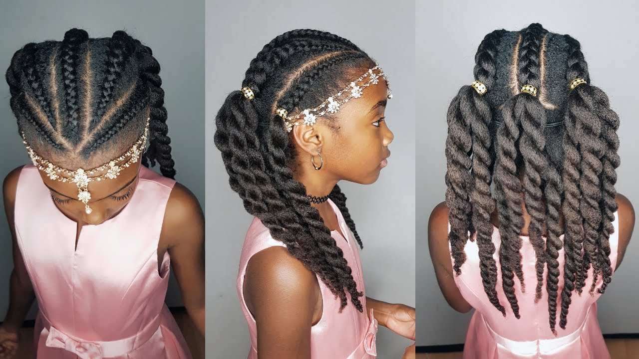 cornrows & twists with curls- hairstyles for girls