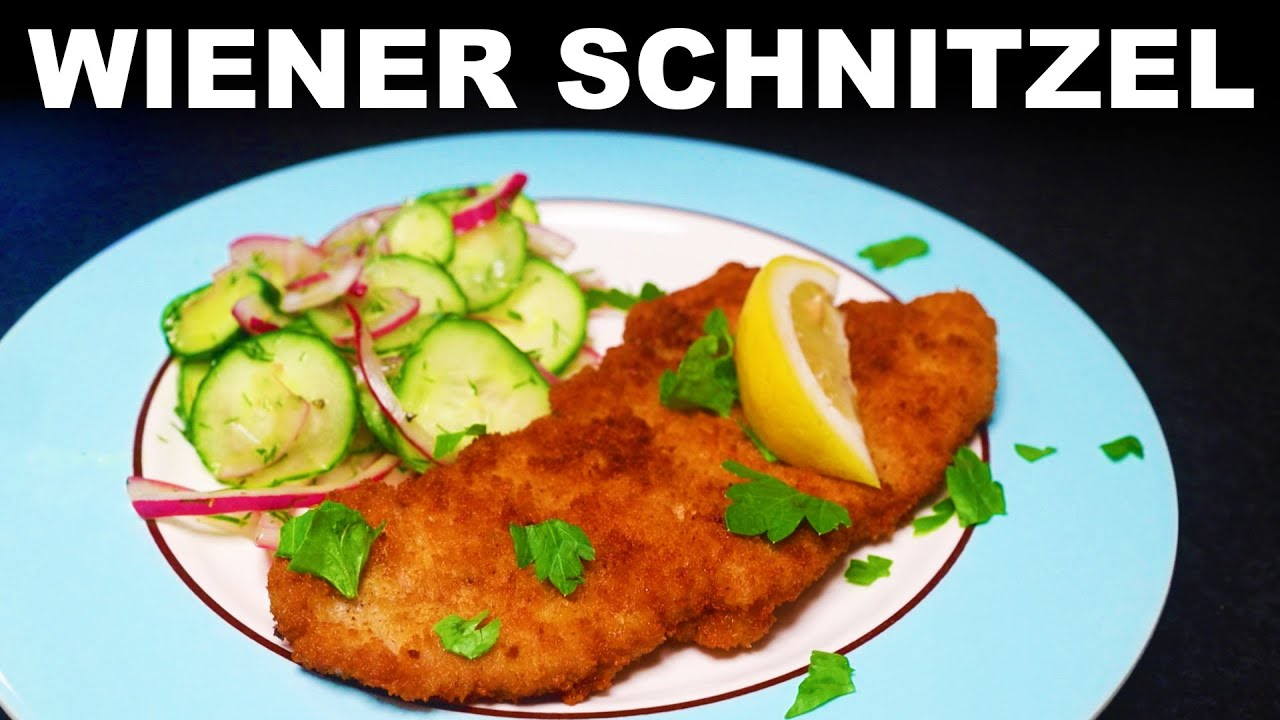 Schnitzel — veal, chicken and pork versions — with cucumber salad
