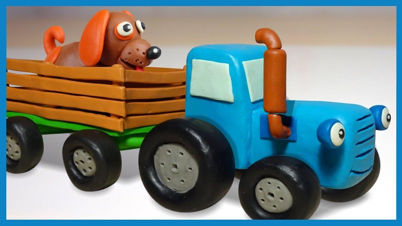 Лепим Синий Трактор из пластилина. Все серии. Tractor in ...
