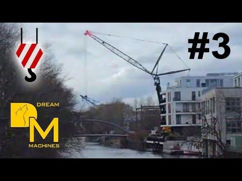 BIG CRANE LIFTING FOOTBRIDGE OVER WATER ++ LIEBHERR LTM 1500-8.1