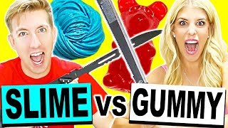 GIANT GUMMY & SLIME VS FRUIT NINJA!