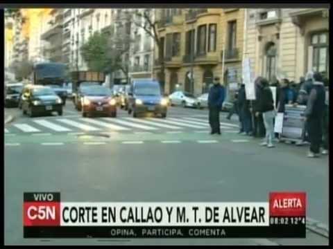 C5N - TRANSITO: CORTE EN CALLAO Y MARCELO T DE ALVEAR (PARTE 1)