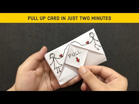 DIY Pull Tab Origami Envelop Card Tutorial |  Anniversary Pull Up Card