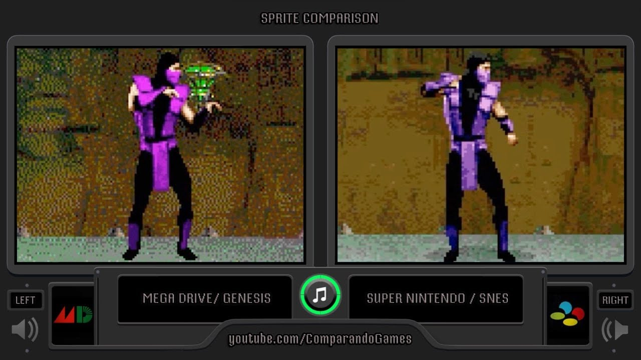 Sprite Comparison of Ultimate Mortal Kombat 3 (Sega Genesis vs SNES) Side  by Side Comparison