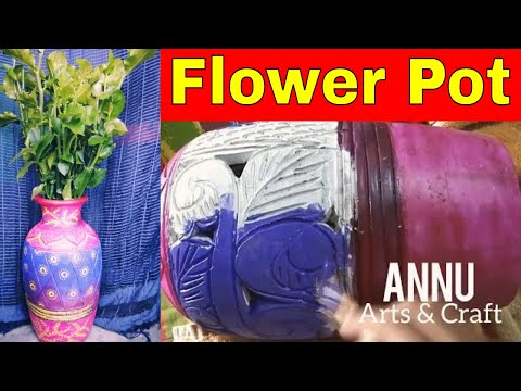 Decorate Flower pot at Home with Fabric colour ! Amazing Designs