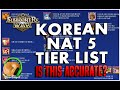 Summoners War : Korean Nat 5-tier List - Is This Accurate? video
