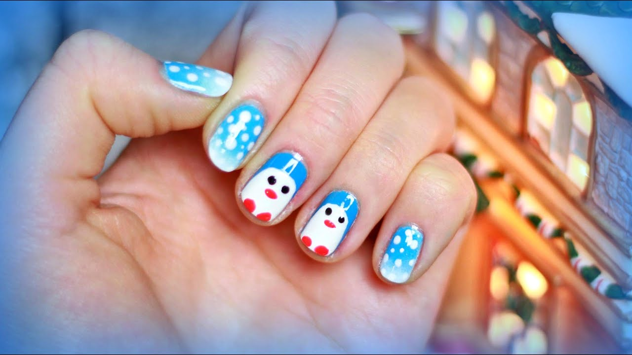 Holiday/Christmas Nail Art for Beginners. Cute Snow ...