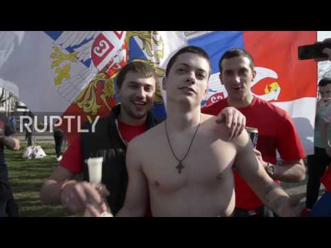 Serbia: Red Star & Spartak fans march together in friendship ahead of friendly in Belgrade