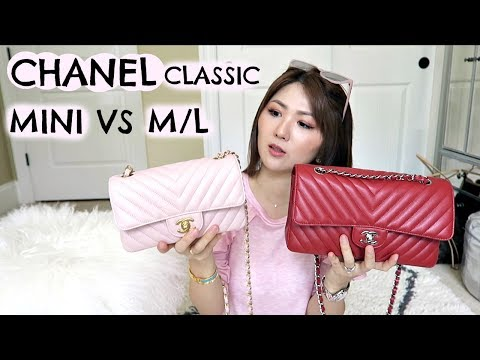 WHICH☝️?? 🤔CHANEL MINI VS M/L CLASSIC FLAP💕CHATTY WIMB, REVIEW & COMPARISON!