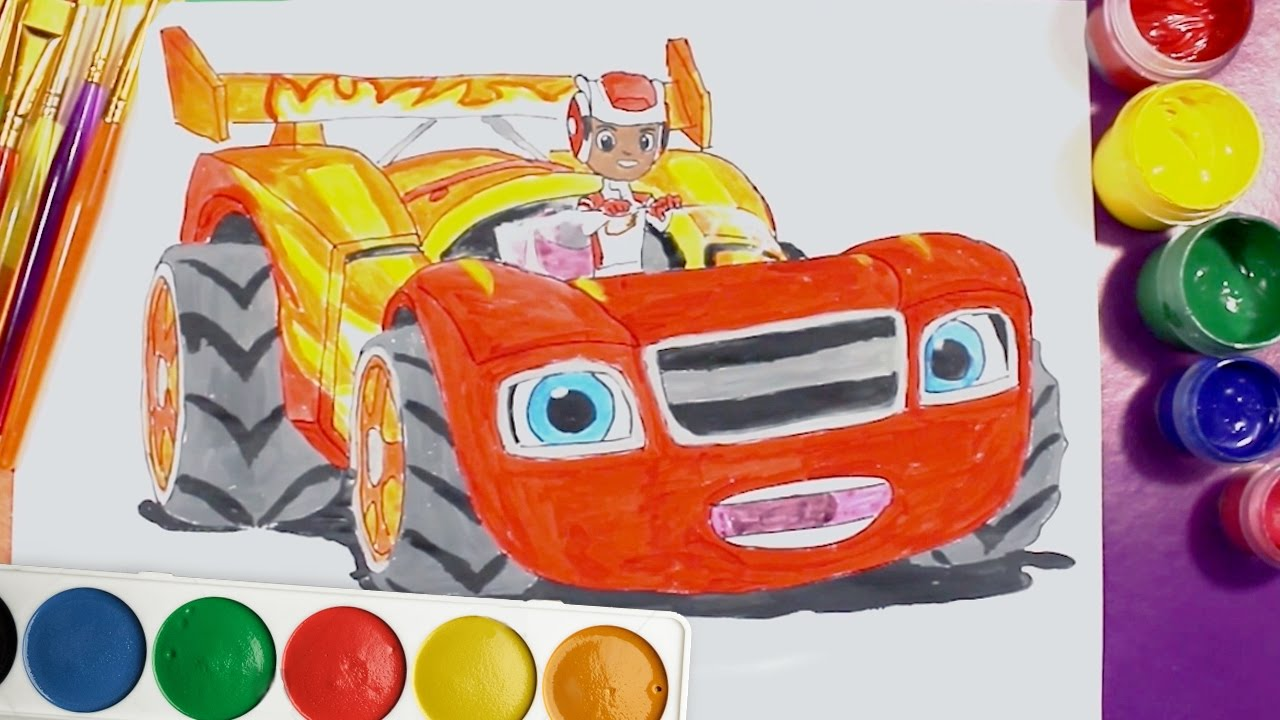 Coloring Pages Race Car : Blaze and the monster machines race car draw and colour