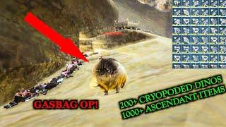 GASBAG RAIDING RAIDERS AND GETTING 100+ CRYOPODED DINOS!? ARK Official servers