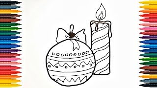 Christmas Toy and Candle Drawing for Kids, Children | Coloring Book Fun Painting
