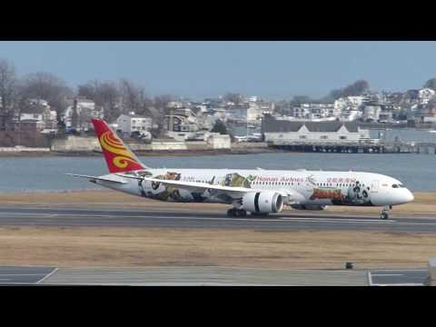 Plane spotting at Boston Logan airport Emirates A380 flight