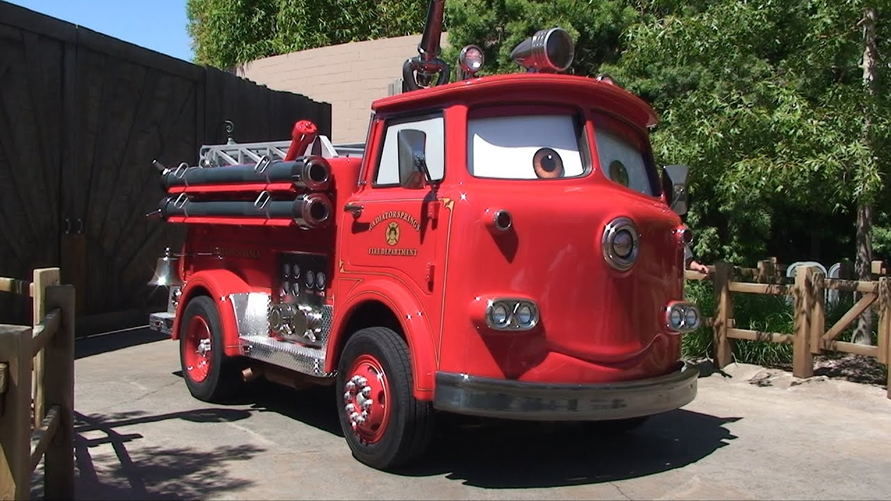 red the firetruck and mater from pixar cars in cars land