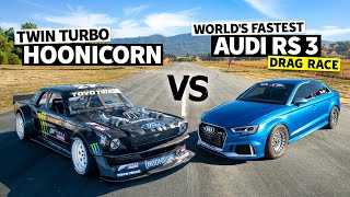 8 Second AWD Audi RS 3 Vs Ken Block's 1,400hp AWD Ford Mustang Hoonicorn // Hoonicorn Vs the World