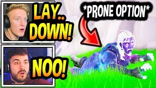 """Streamers React To *NEW* """"PRONE"""" OPTION In Fortnite! (LAY DOWN) Fortnite Moments"""