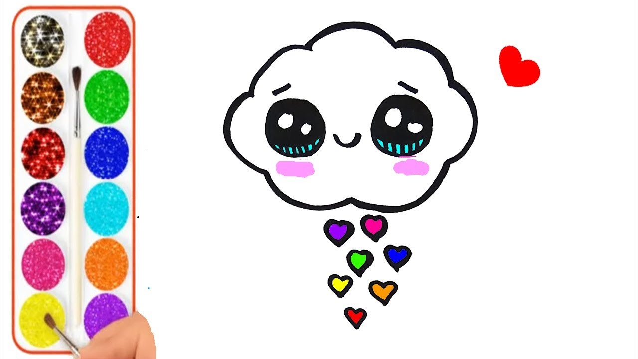 Como Dibujar Y Colorear Una Nube De Arcoiris Kawaii Dibujos Para Niños