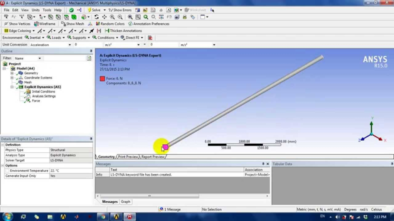 Guided Wave Simulation in Straight Pipe Using Ansys Workbench+LS DYNA Solver