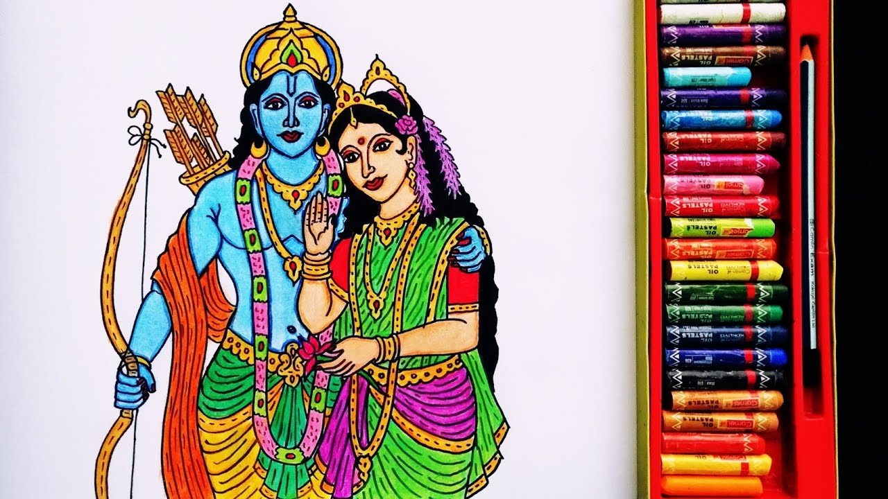 How to Draw Time-lapse Painting Of God Shri Ram and Sita Mata   Drawing Of Lord Ram and Sita Mata