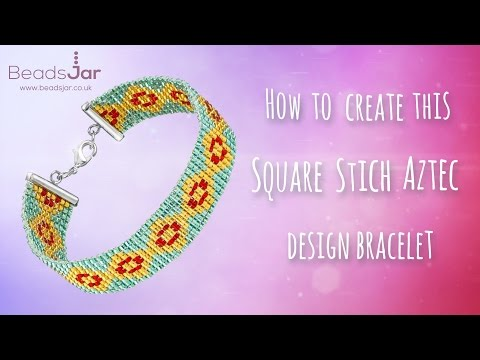 How to make an Amazing Aztec design Square Stitch Bracelet