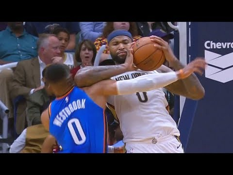 Russell Westbrook Elbowed By DeMarcus Cousins In the Head, DeMarcus Cousins Gets Ejected