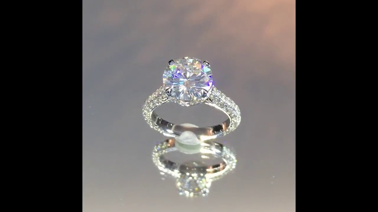 813136e01 Round Moissanite Engagement Ring - YouTube