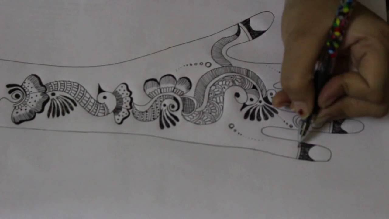 how to draw mehndi designs on paper with pencil
