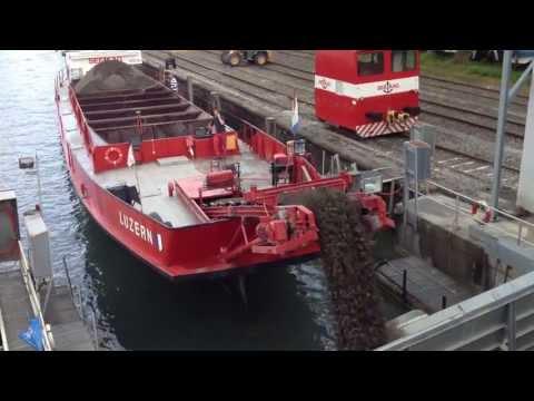 Sand barge unloading cargo in Lucerne