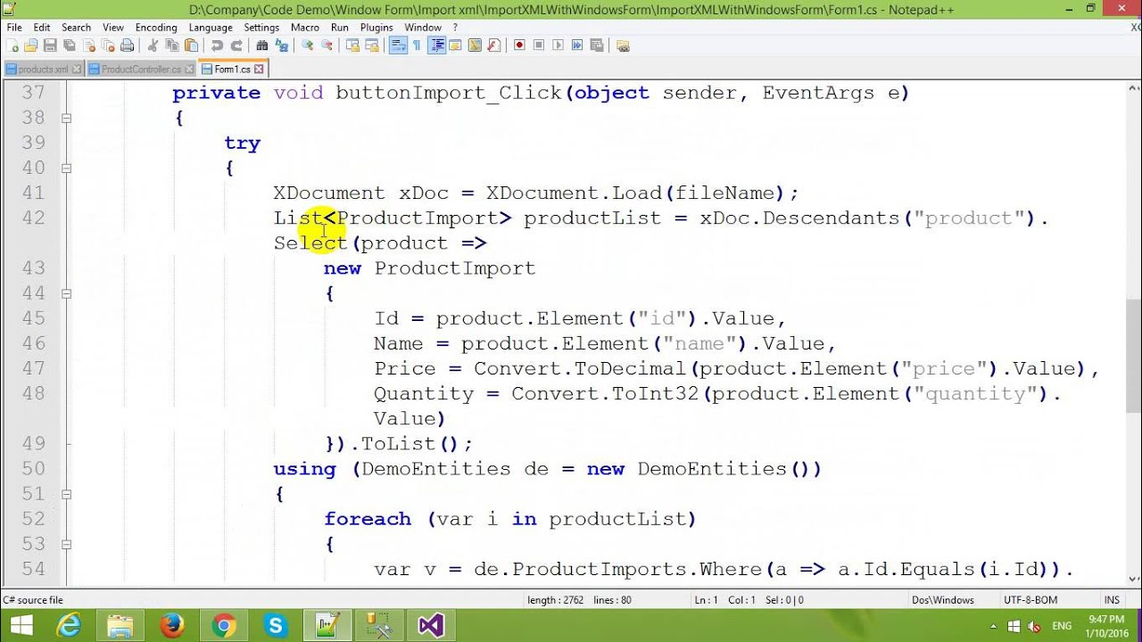 Import XML File to SQL Server in Windows Form and Entity Framework