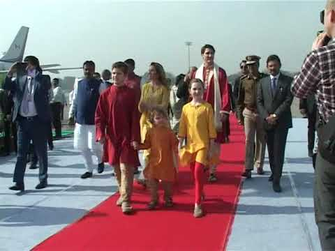Canadian Prime Minister welcomed at Ahmedabad airport in Gujarat