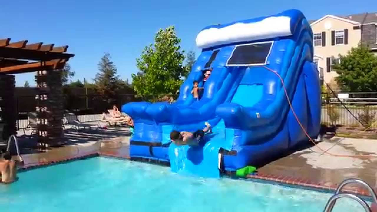 Blue Wave Pool Slide   All Around Bounce House Company   YouTube